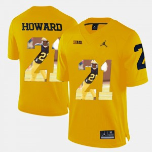 Men University of Michigan Player Pictorial #21 Desmond Howard college Jersey - Yellow