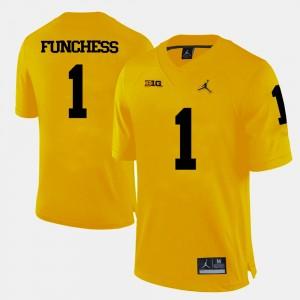 Men Football #1 University of Michigan Devin Funchess college Jersey - Yellow
