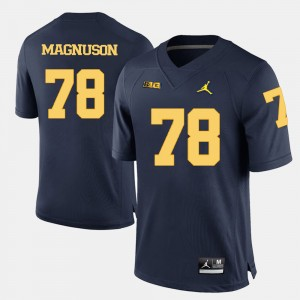 Men's #78 Wolverines Football Erik Magnuson college Jersey - Navy Blue