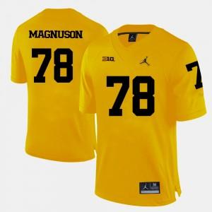 Mens Football #78 University of Michigan Erik Magnuson college Jersey - Yellow