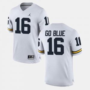 Men's Michigan #16 Alumni Football Game GO BLUE college Jersey - White