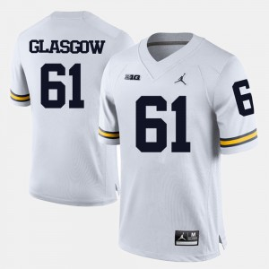 Mens #61 Graham Glasgow college Jersey - White Football University of Michigan