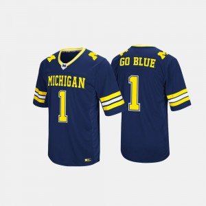 Men #1 Wolverines Hail Mary II college Jersey - Navy