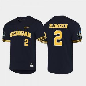 Men's #2 Wolverines 2019 NCAA Baseball World Series Jack Blomgren college Jersey - Navy