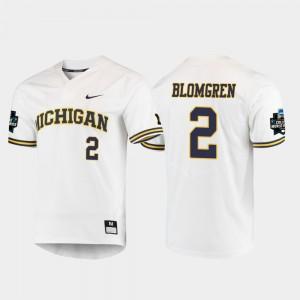 Men's #2 2019 NCAA Baseball World Series Michigan Jack Blomgren college Jersey - White