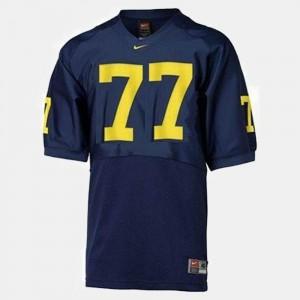Men Michigan Football #77 Jake Long college Jersey - Blue
