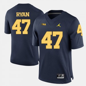 Men #47 Michigan Football Jake Ryan college Jersey - Navy Blue