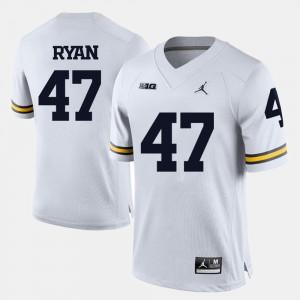 Men U of M #47 Football Jake Ryan college Jersey - White