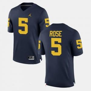 Men Alumni Football Game #5 University of Michigan Jalen Rose college Jersey - Navy