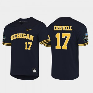 Men #17 2019 NCAA Baseball World Series Wolverines Jeff Criswell college Jersey - Navy