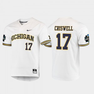 Men's #17 University of Michigan 2019 NCAA Baseball World Series Jeff Criswell college Jersey - White