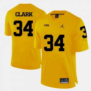Mens University of Michigan #34 Football Jeremy Clark college Jersey - Yellow