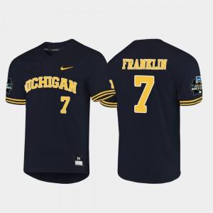 Mens #7 2019 NCAA Baseball World Series Wolverines Jesse Franklin college Jersey - Navy
