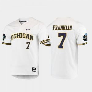 Men's 2019 NCAA Baseball World Series Michigan #7 Jesse Franklin college Jersey - White