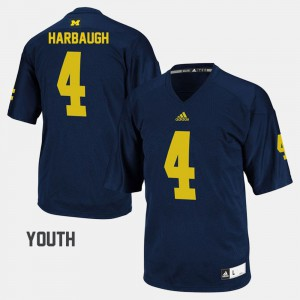 Youth(Kids) Michigan #4 Football Jim Harbaugh college Jersey - Navy