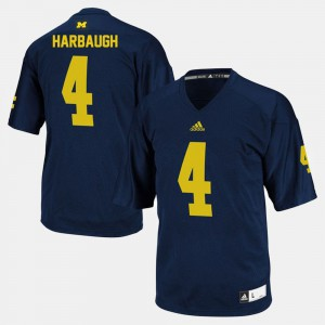 Men Michigan Wolverines #4 Football Jim Harbaugh college Jersey - Navy