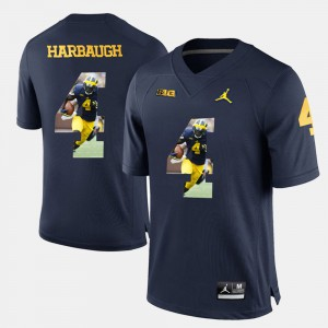 Men Player Pictorial #4 Wolverines Jim Harbaugh college Jersey - Navy Blue
