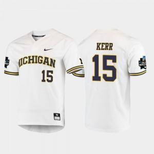 Men #15 2019 NCAA Baseball World Series Michigan Jimmy Kerr college Jersey - White