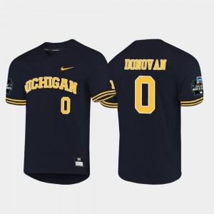 Men's 2019 NCAA Baseball World Series #0 U of M Joe Donovan college Jersey - Navy