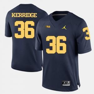 Men's #36 U of M Football Joe Kerridge college Jersey - Navy Blue