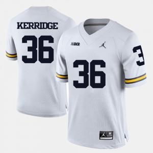 Men's #36 Football University of Michigan Joe Kerridge college Jersey - White