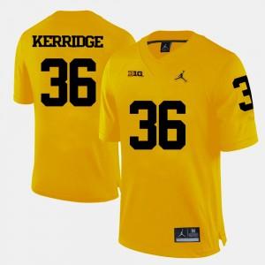 Men Football University of Michigan #36 Joe Kerridge college Jersey - Yellow