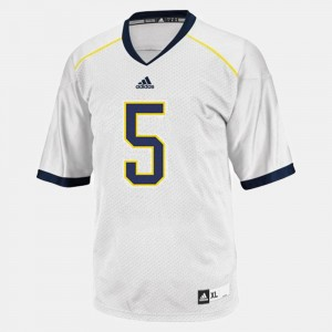 Mens Football #5 U of M John Wangler college Jersey - White
