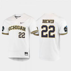 Mens Michigan Wolverines #22 2019 NCAA Baseball World Series Jordan Brewer college Jersey - White