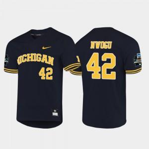 Men's 2019 NCAA Baseball World Series #42 University of Michigan Jordan Nwogu college Jersey - Navy