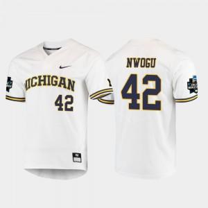 Men's 2019 NCAA Baseball World Series U of M #42 Jordan Nwogu college Jersey - White