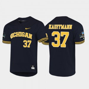 Men's #37 U of M 2019 NCAA Baseball World Series Karl Kauffmann college Jersey - Navy