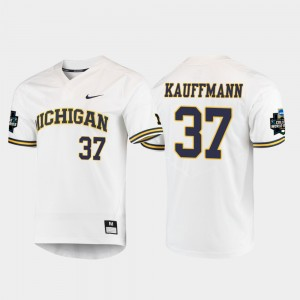Men's Michigan #37 2019 NCAA Baseball World Series Karl Kauffmann college Jersey - White