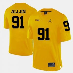 Men #91 Football University of Michigan Kenny Allen college Jersey - Yellow