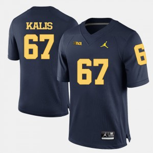 Men's Football #67 Michigan Wolverines Kyle Kalis college Jersey - Navy Blue