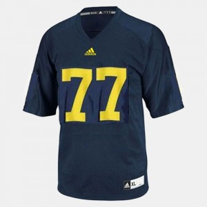 Kids #77 U of M Football Taylor Lewan college Jersey - Blue