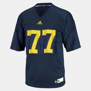 Men's #77 Football Michigan Taylor Lewan college Jersey - Blue