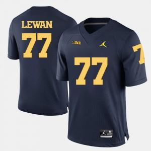 Men's Football University of Michigan #77 Taylor Lewan college Jersey - Navy Blue