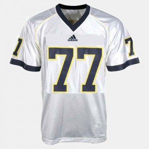 Youth #77 Michigan Wolverines Football Taylor Lewan college Jersey - White