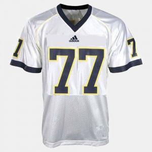 Mens University of Michigan Football #77 Taylor Lewan college Jersey - White