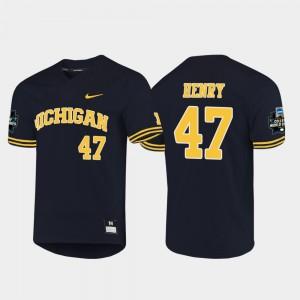 Men's Michigan #47 2019 NCAA Baseball World Series Tommy Henry college Jersey - Navy
