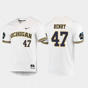 Men 2019 NCAA Baseball World Series Wolverines #47 Tommy Henry college Jersey - White