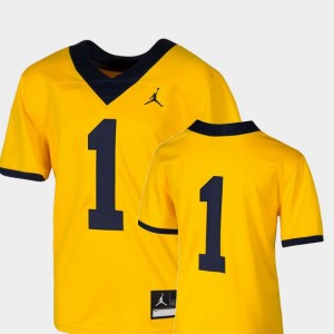 Youth #1 Football Michigan Team Replica college Jersey - Maize