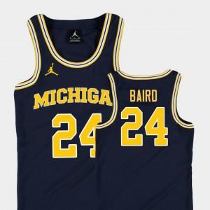 Kids #24 University of Michigan Replica Basketball Jordan C.J. Baird college Jersey - Navy
