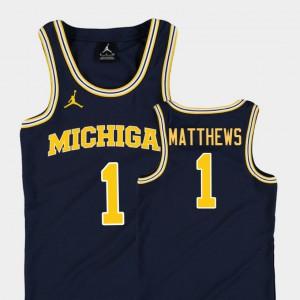 Kids Replica Basketball Jordan #1 Michigan Charles Matthews college Jersey - Navy