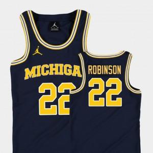 Kids Replica #22 Michigan Wolverines Basketball Jordan Duncan Robinson college Jersey - Navy
