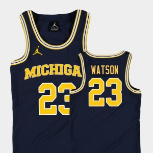 Kids Basketball Jordan U of M #23 Replica Ibi Watson college Jersey - Navy