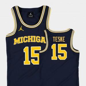 Youth(Kids) #15 Michigan Replica Basketball Jordan Jon Teske college Jersey - Navy