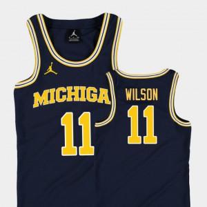 Youth #11 Basketball Jordan Wolverines Replica Luke Wilson college Jersey - Navy