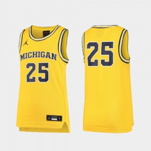 Youth Basketball Replica University of Michigan #25 college Jersey - Maize