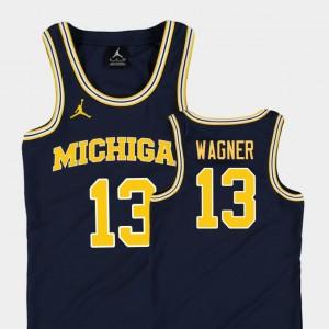 Kids University of Michigan Replica Basketball Jordan #13 Moritz Wagner college Jersey - Navy